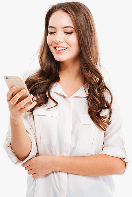 Hello page girl with phone