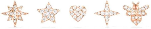 APM Monaco Stars And Bumble Bee Studs Set - Pink Silver