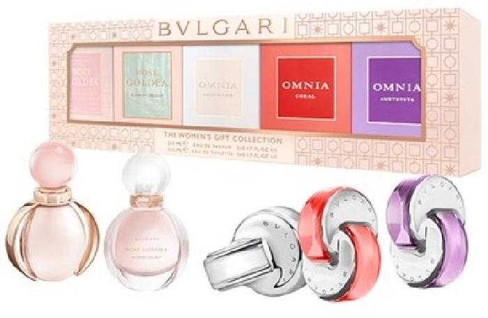 Bvlgari Coffret:Rose Goldea EDP 5ml+Rose Goldea Blossom Delight EDP 5ml+Omnia Crystalline EDT 5ml+Omnia Amethyste EDT 5ml +Omni