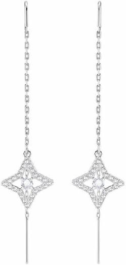 Swarovski Sparkling Dance Star Pierced Earrings, White, Rhodium Plating