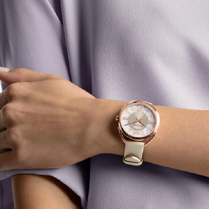 Swarovski Сrystalline Glam Watch, Leather Strap, Gray, Rose Gold Tone 1