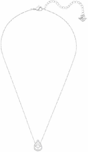 Swarovski Sparkling Dance Pear Necklace, White, Rhodium Plating
