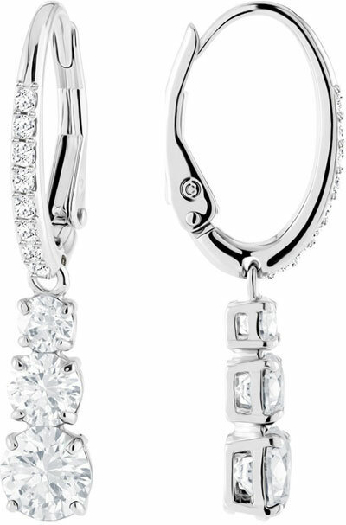 Swarovski Attract Trilogy Round Pierced Earrings, White, Rhodium Plating