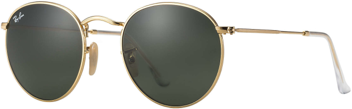 Ray-Ban Sunglasses Green Lens Gold Frame Round Metal
