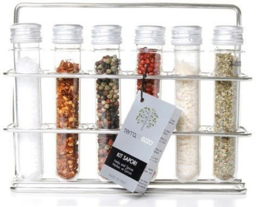 Terramezzo Rack with 6 test tubes with Salt and Spices 100g