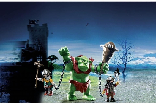 Playmobil giant troll with dwarf fighters