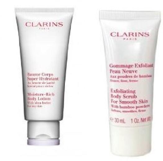 Clarins Skincare Body Set cont.: Moisture Rich Body Lotion 200 ml (retail)+ Exfoliating Body Scrub 30 ml (trial)