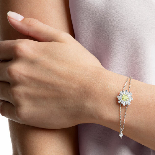 Swarovski sunshine Bracelet, White, Rhodium Plating