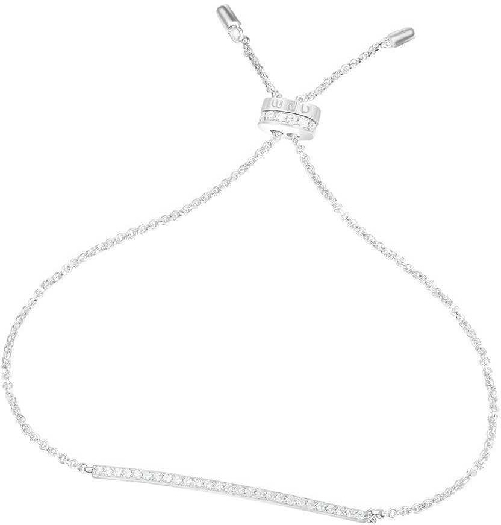 APM Monaco Adjustable Bracelet With Paved Line - Silver