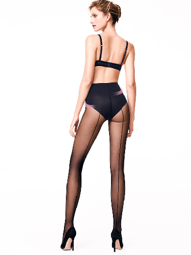 Wolford Individual 10 Control Top Back Seam Tights XS