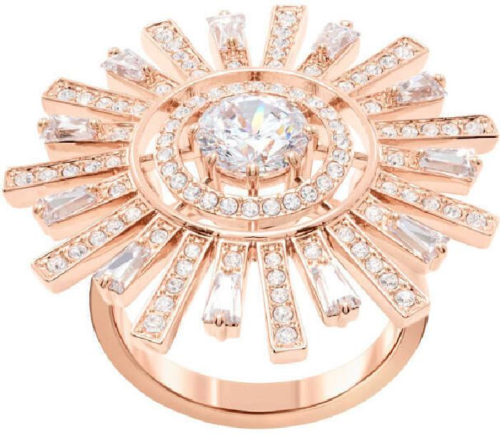 Swarovski Sunshine Cocktail Ring, White, Rose Gold Plating 58