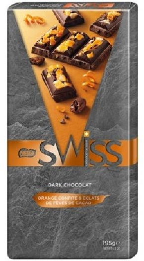 Nestle Swiss Dark Orange Nibs Tablet 195g
