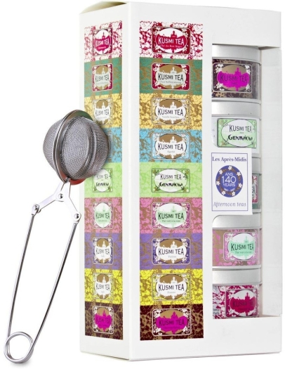Kusmi Tea Afternoon Teas gift pack with infuser, tins 5x25g
