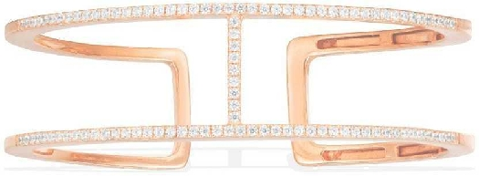 APM Monaco Double Line Paved Open Cuff - Pink Silver