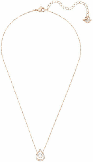 Swarovski Sparkling Dance Pear Necklace, White, Rose Gold Plating