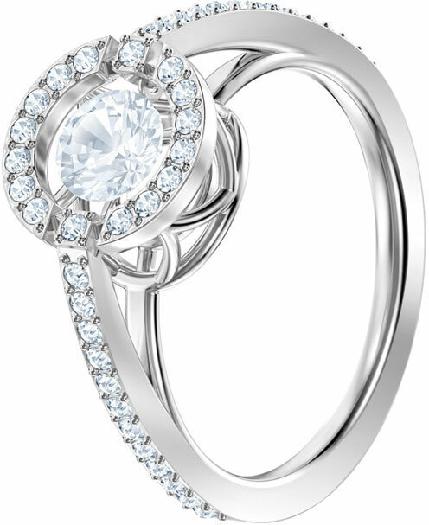 Swarovski Sparkling Dance Round Ring, White, Rhodium Plating