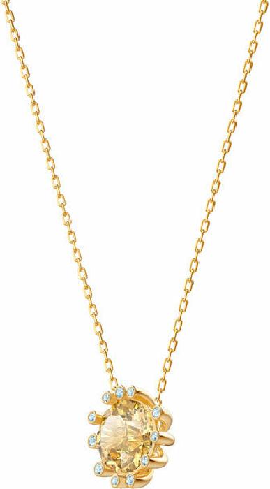 Swarovski Olive Pendant, Multi-colored, Gold Plating