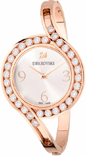 Swarovski Lovely Crystals Bangle Watch, Metal Bracelet, White, Rose Gold Tone