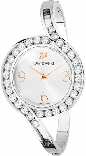 Swarovski Lovely Crystals Bangle Watch, Metal Bracelet, White, Silver Tone