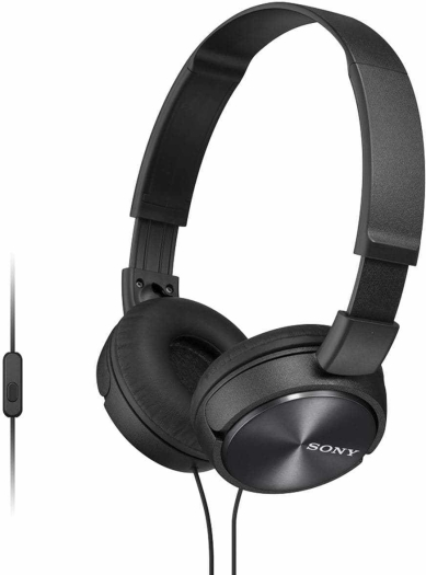 Sony MDR-ZX310AP On-Ear Headphones with Mic Black 125g
