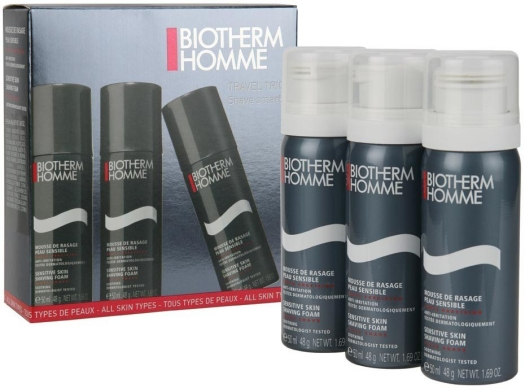 Biotherm Homme Shaving Biotherm Men Essentials Travel Size Shaving Foams set 3x50ml Mousse de Rasage Peau Sensible