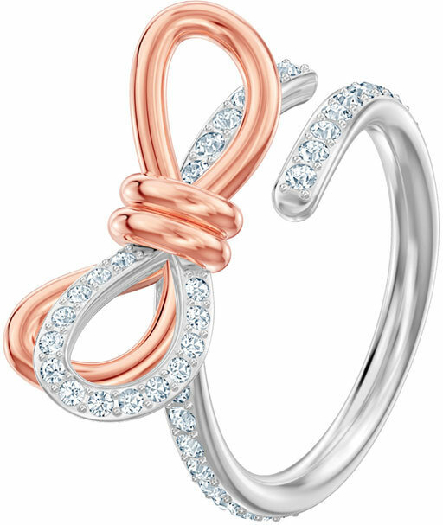 Swarovski Lifelong Medium Bow Ring, White, Mixed Plating 52