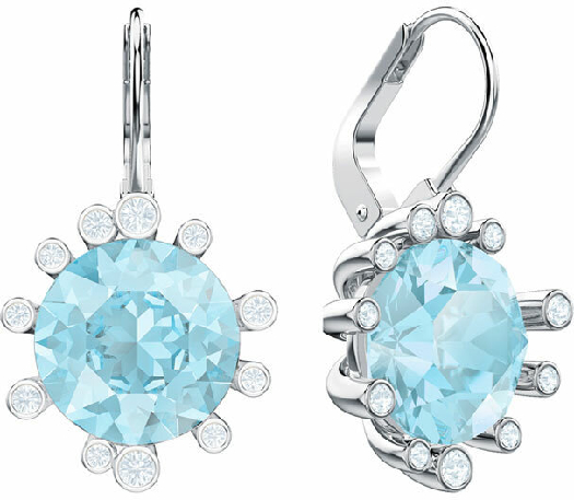 Swarovski Olive Pierced Earrings, Aqua, Rhodium Plating