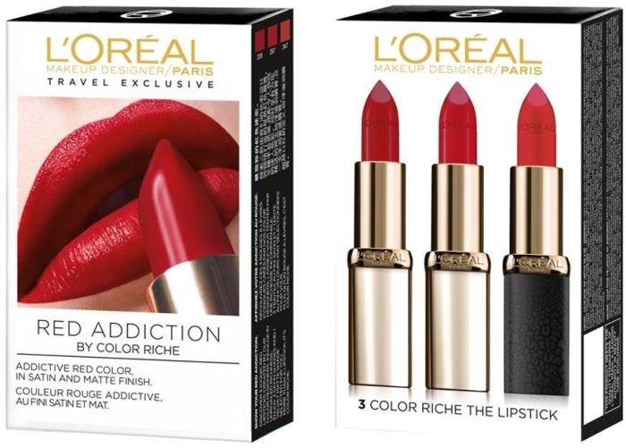 L'Oreal Paris Color Riche Red Addiction Lipstick Set 3x4.5ml