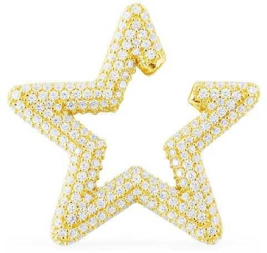 APM Monaco White Mono Star Sliding Ear Jacket - Yellow Silver