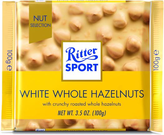 White Chocolate Ritter Sport Hazelnuts 100g