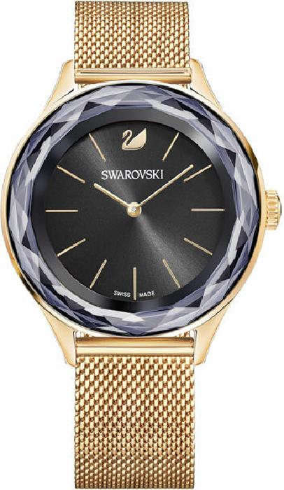 Swarovski Octea Nova Watch, Milanese Bracelet, Black, Rose Gold Tone