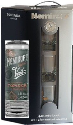 Nemiroff Special Vodka 40% + 3 glasses 0,7L