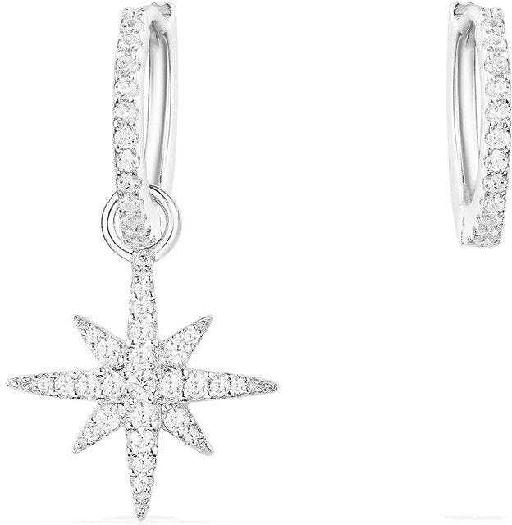 APM Monaco Small Asymmetric Météorites Earring And It Hoop - Silver