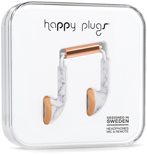 Happy Plugs Deluxe Earbud White Marble Rose Gold