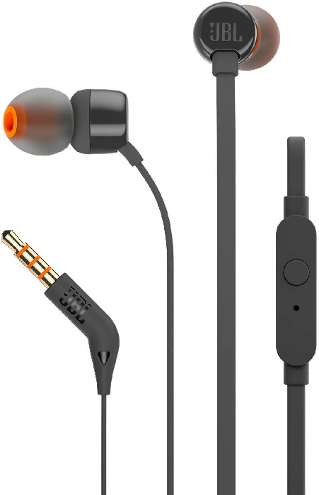 JBL T110 Pure Bass In-Ear Headphones with Mic Black 12.7g