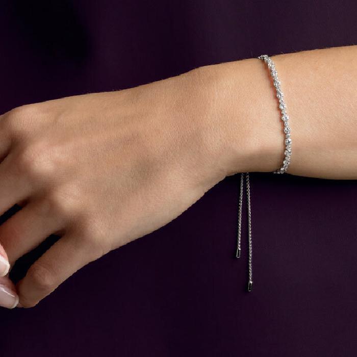 Swarovski Subtle Bracelet, White, Rhodium Plating