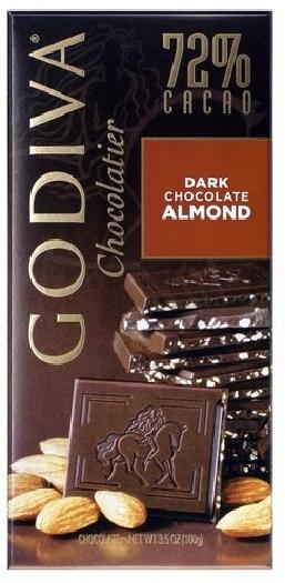Godiva Tablet Dark Almond Chocolate 100g