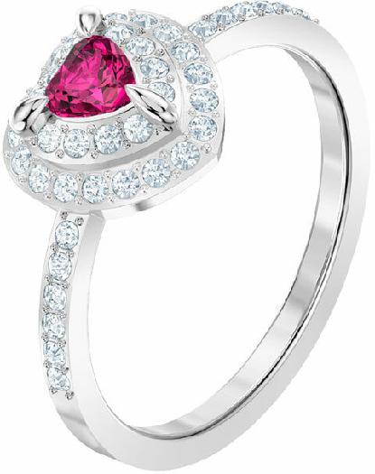 Swarovski One Ring, Medium, Red, Rhodium Plating