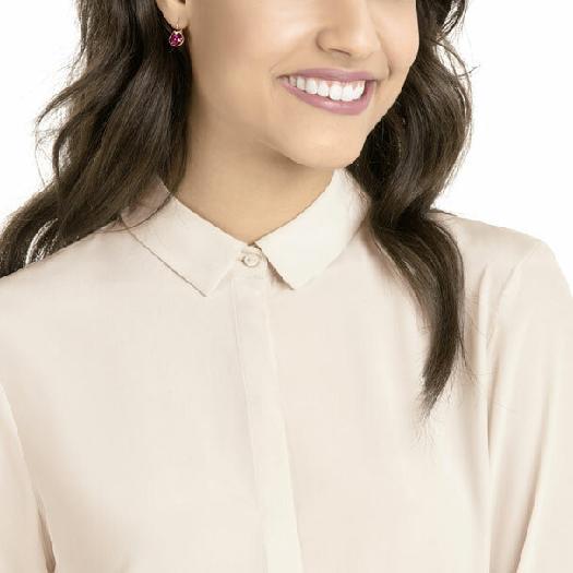 Swarovski Bella V Pierced Earrings, Fuchsia, Rose Gold Plating
