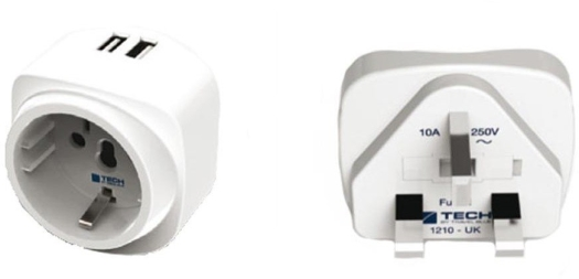 Travel Blue Europe to UK Adaptor with Dual USB Charger 948