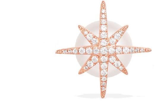APM Monaco Mono Météorites Earring With Pearl - Pink Silver