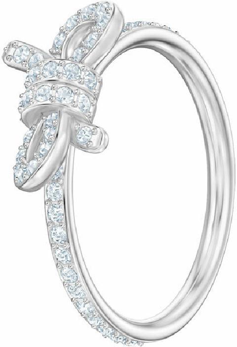 Swarovski Lifelong Small Bow Ring, White, Rhodium Plating