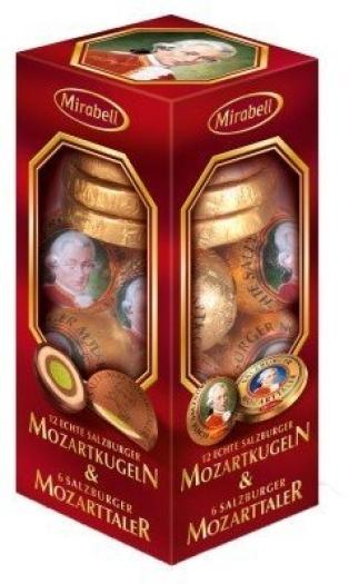 Mirabell Mozartkugeln Mozarttaler Transparent Pack 325g