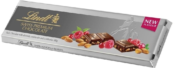 Lindt Silver Tablet Dark Berry Almond 300g