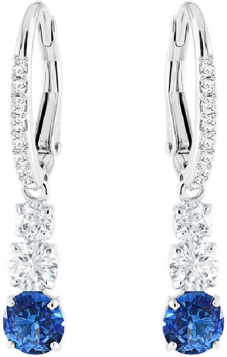 370470c00 Swarovski Attract Trilogy Round Pierced Earrings, Blue, Rhodium Plating