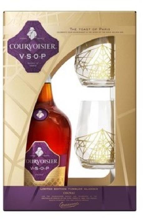 Courvoisier VSOP Value Added Pack + 2 Glasses 1L