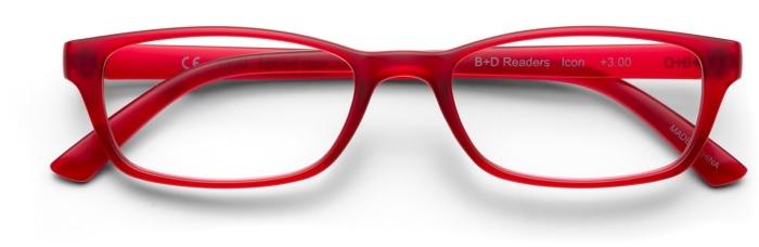 B+D Icon Reader Matt Red +3.00
