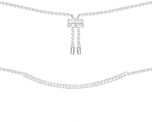 APM Monaco Adjustable Necklace With Paved Arched Pendant - Silver