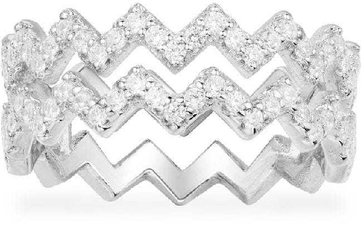 APM Monaco Double Up And Down Ring - Silver 52