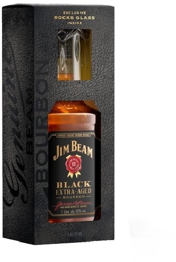 Jim Beam Black 43% Value Added Pack +1 Glas 1L